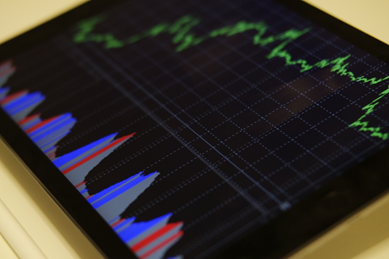 Forex trading chart on a screen
